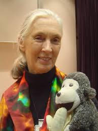 Jane Goodall with Mascot